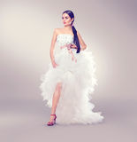 Beauty fashion young model bride in wedding white dress Royalty Free Stock Photos