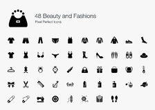48 Beauty and Fashions Pixel Perfect Icons. This is an icon set of wardrobes and beauty related products for men and women. These icons are good for apps that Royalty Free Stock Photo
