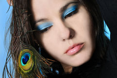 Beauty and feather royalty free stock images