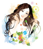 Beauty female. Long hair woman with flowers Royalty Free Stock Photo