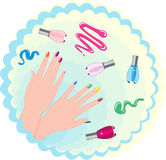 Beauty female hand and varnish. Beauty female hand and colorful varnish stock illustration