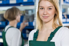Beauty female manufacturing worker Royalty Free Stock Photo
