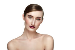 Beauty female Model with perfect Skin and dark red Lips Stock Photo