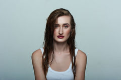 Beauty female Model with perfect Skin, wet Hair Royalty Free Stock Photography