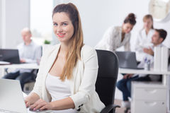 Beauty female office worker royalty free stock photo