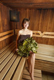 Beauty female relax in a sauna. Stock Photography