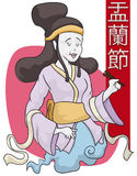 Beauty Female Spirit in Hungry Ghost Festival, Vector Illustration Royalty Free Stock Photos
