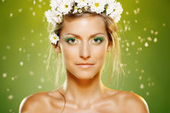 Beauty female with white flower wreath Stock Photo