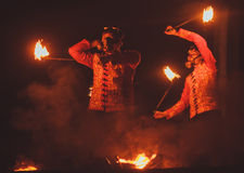 Beauty fire show in the dark Royalty Free Stock Images