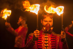 Beauty fire show in the dark Stock Photo