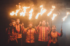 Beauty fire show in the dark Royalty Free Stock Photography