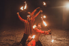 Beauty fire show in the dark Royalty Free Stock Photo