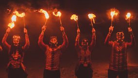 Beauty fire show in the dark Stock Photography