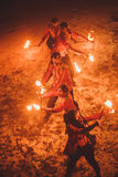 Beauty fire show in the dark Stock Photos