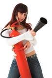 Beauty firefighter Stock Photo