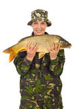 Beauty fisher woman holding carp Royalty Free Stock Images
