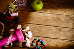 Beauty, Fitness, healthy and active lifestyles Concept, dumbbell Stock Photos