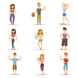 Beauty fitness people weight loss vector cartoon Stock Images