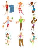 Beauty fitness people weight loss vector cartoon Stock Photo