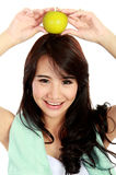 Beauty fitness woman with fresh apple Stock Photos