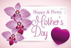 Beauty Floral Greeting Card for Mother's Day, Vector Illustration Stock Images
