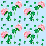 Beauty floral seamless pattern with clover. And blue background Royalty Free Stock Photo