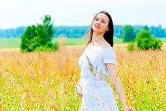 Beauty in a flower field in summer Royalty Free Stock Photo