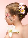 Beauty flower girl on the pink background Royalty Free Stock Photo