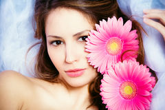 Beauty with flowers Stock Photos