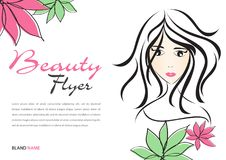 Beauty Flyer template, Magazine Ads layout, Cosmetics Banner, poster, backdrop, billboard, leaflet, newspaper, women long hair. Style icon White flower, Girl Stock Photos