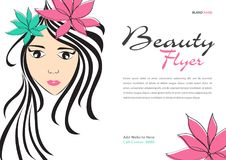Beauty Flyer template, Magazine Ads layout, Cosmetics Banner, poster, backdrop, billboard, leaflet, newspaper, women long hair. Style icon White flower, Girl Royalty Free Stock Photos