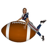 Sporty Girl and Football Stock Photo
