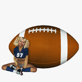 Sporty Girl and Football Royalty Free Stock Photography