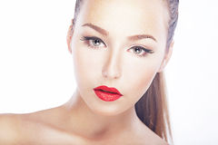 Beauty - fresh woman face - red lips, natural clean healthy skin Stock Image