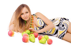 Beauty with fruits Royalty Free Stock Photo