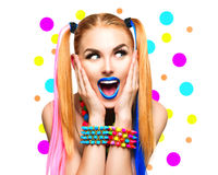 Beauty funny girl portrait with colorful makeup Royalty Free Stock Images
