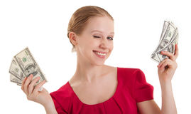 Beauty funny girl  winks, holds the money, Royalty Free Stock Photo