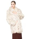 Beauty in Fur Coat Stock Photo