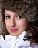 Beauty in fur hat Stock Photos