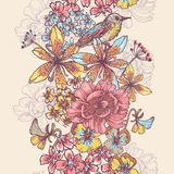 Beauty garden flowers and bird vertical seamless ribbon Royalty Free Stock Image