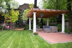 Beauty garden with modern gazebo Royalty Free Stock Photography