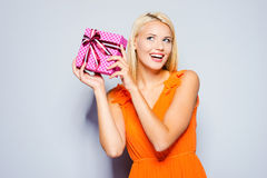 Beauty with gift box. Stock Image