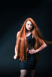 Beauty ginger Girl Portrait. Healthy Long Red Hair. Beautiful Yo Stock Images