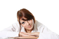 Beauty  girl. The beautiful girl in a white jacket Royalty Free Stock Photo