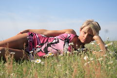 Beauty Girl. Attractive Young Summer Beauty & Flowers Stock Photography