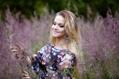 Beauty  girl alone with nature, freedom concept Royalty Free Stock Photography