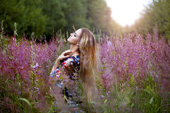 Beauty  girl alone with nature, freedom concept Stock Images