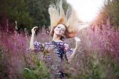 Beauty  girl alone with nature, freedom concept Royalty Free Stock Photo