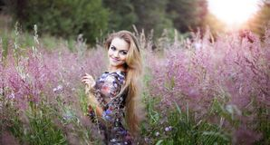Beauty  girl alone with nature, freedom concept Stock Photo