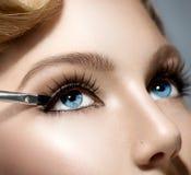 Beauty Girl Applying Makeup Royalty Free Stock Photography